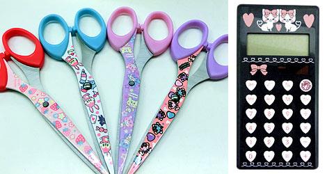 Scissors And Calculators With Cute Pop Art Patterns