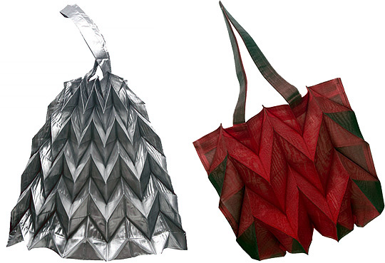 Eco Bag Made Of Fabric Folded Like Origami A Paper Weave Pattern With Mountain And Valley Folds Is Secured Polyester Thread Then Heat Pleated