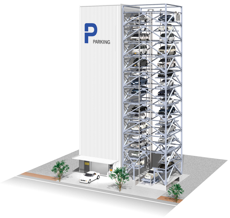 In case of earthquake, the latest parking installations are equipped with earthquake detectors and technology that prevents pallets from bouncing up and down so that they do not drop off. ©Japan Parking System Manufacturers Association Incorporated