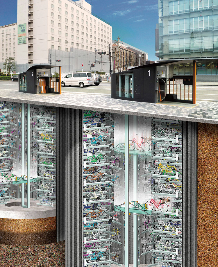 High-tech bicycle parking facilities in Kyoto have a storage capacity of about 200 bicycles each. ©Giken Ltd.