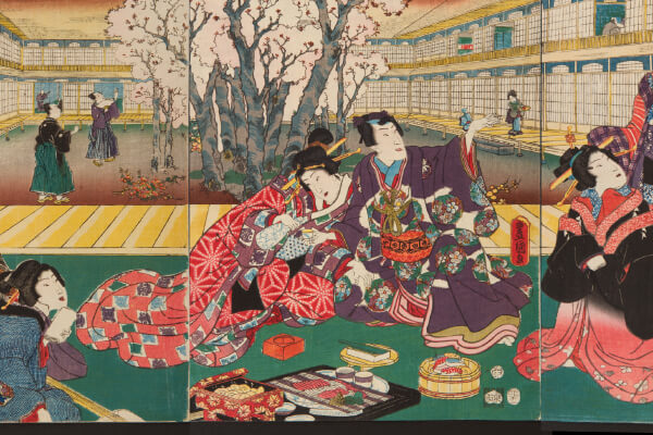 "Bento also appear in Ukiyoe (woodblock prints) created about 160 years ago. (Utagawa Toyokuni, ""Mitate Genji Cherry Blossom Banquet,"" 1855)"